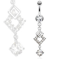 NSQ-5001-C Squares with Round CZ Dangle Navel Ring