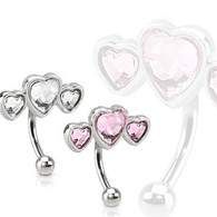 ESR13480 Triple Heart Eyebrow Curve with Paved Heart Shaped