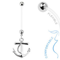 Anchor Dangle Bio Flex Pregnancy Navel Ring NPG15237
