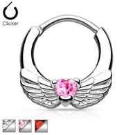 SEP2-05 Angel Wings with Heart CZ Septum Clicker