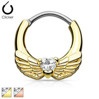 SEP2-06 Angel Wings with Heart CZ Gold IP Septum Clicker