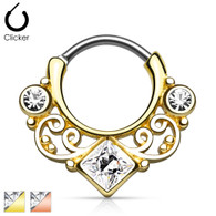 SEP2-08 Lace Swirl Gem w/ Square CZ Center Gold IP Septum Clicker
