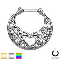 SEPS-06 Heart Laced All 316L Surgical Steel Septum Clicker