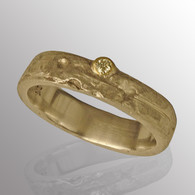 18K yellow gold and silver ring with 3pt. diamond.  4.6mm wide.