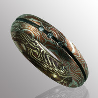 Mokume Gane ring (silver and copper).  5pt. diamond. 6mm wide.