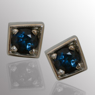 14K white gold stud earrings with 1/3ct. sapphire.  4.5X4.5mm.