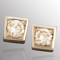 14K white gold stud earrings with 1/3ct. diamond.  4.3X4.3mm.