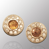 Palladium stud earrings with 1/2ct. diamond.  5.5mm wide.