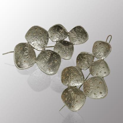 Silver drop earrings.  29X44mm.