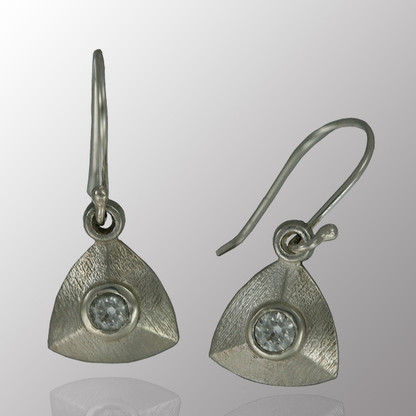 Silver drop earrings with 8pt. white sapphire.