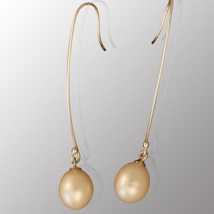 Silver drop earrings with 8.3mm pearl.