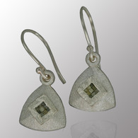 Silver drop earrings with 10pt. raw diamond.