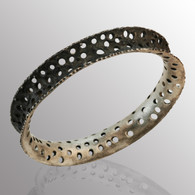 Silver and blackened silver bangle.  12.7mm wide.