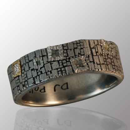 Silver men's ring with 15pt. diamond.  7mm wide.