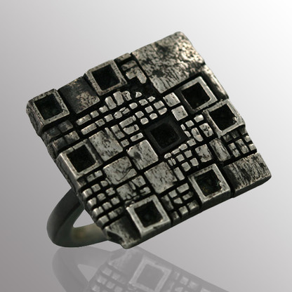 Sterling silver and blackened silver ring.  20X20mm.