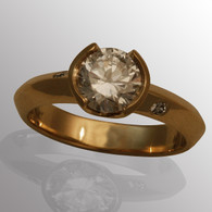 18K yellow gold engagement ring with 1.5ct. diamond.