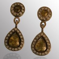 Palladium drop earrings with 2+ ct. diamond.