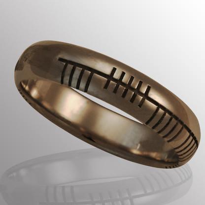 14K white gold Irish Alphabet custom ring.  5.5mm wide.