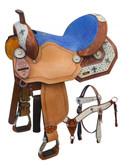 Turquoise Cross Barrel Saddle w/matching Headstall & Breast Collar
