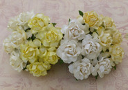 "WOC - Cottage Roses (20) - Mixed White/Cream Tone - 25mm (1"")"