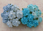 "WOC - Cottage Roses (20) - Mixed Blue Tone - 25mm (1"")"