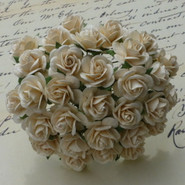 "WOC - Open Roses - 25mm (1"") - Deep Ivory  (10)"