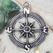 Charm - Compass - Metal - Silver Tone