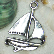 Charm - Sailboat - Metal - Silver Tone