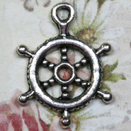"Charm - Ship Wheel ""Helm"" - Metal - Silver Tone"
