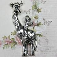 Charm - Giraffe Mom & Baby - Metal - Silver Tone