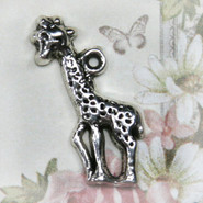 Charm - Giraffe Baby - Metal - Silver Tone