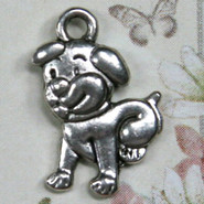 Charm - Puppy Dog - Metal - Silver Tone