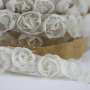"May Arts - Rosette Trim with Adhesive - 1 Yard - 5/8"" - Ivory"