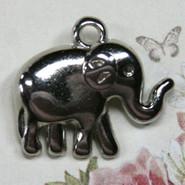 Charm - Elephant Baby - Metal - Silver Tone