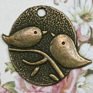 Charm - Bird Tag - Metal - Bronze Tone