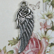Charm - Wing with Rose - Metal - Silver Tone