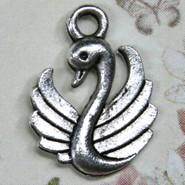 Charm - Swan #1 - Metal - Silver Tone
