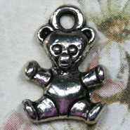 Charm - Teddy Bear #1 - Metal - Silver Tone