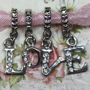 Charm - LOVE with Rhinestones & Bails - Metal - Silver Tone