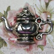 Charm - Teapot #1 - Metal - Silver Tone