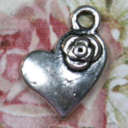 Charm - Heart with Rose - Metal - Silver Tone