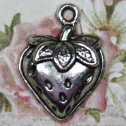 Charm - Strawberry #1 - Metal - Silver Tone
