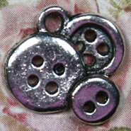 Charm - Buttons - Metal - Silver Tone