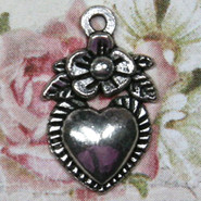 Charm - Heart with Flower - Metal - Silver Tone