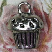 Charm - Cupcake #1 - Metal - Silver Tone
