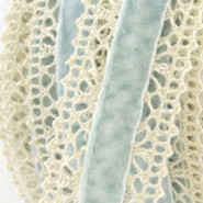 "May Arts Ribbon - Crochet with Velvet Center - 1 Yard - 1"" - Ivory & Light Blue"