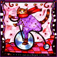 Cat on Bike Tile Trivet