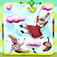 Bunny picnic ceramic tile