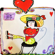 Woman With Sewn Heart Tile Trivet