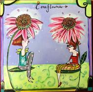 Cone Flower Sister Tile Trivet